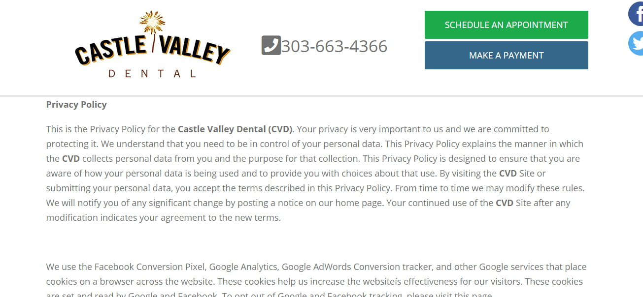 Privacy Policy at Castle Valley Dental